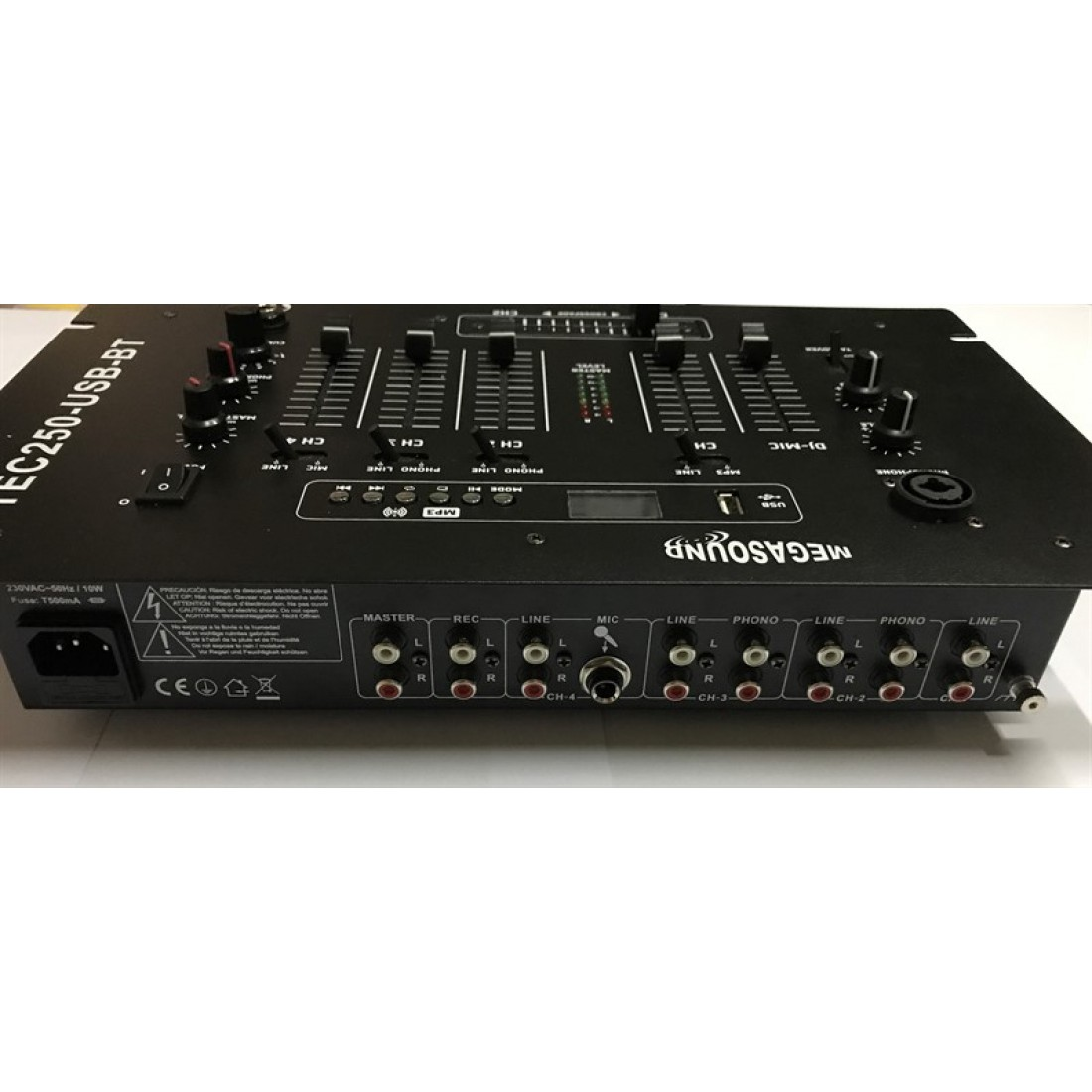 Tec250usb Tec250 4 Stereo Channels Usb Stick Sd Card 2 Mic Mixer For Microphone With Inputs Talkover Mixing Console